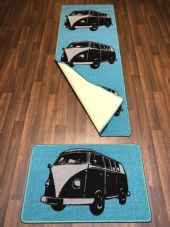 NO SLIP RUNNER 66X185CM APROX 6FTX2FT3 DOORMAT 50X80 SET OF 2 BLUE/BLACK/GREY
